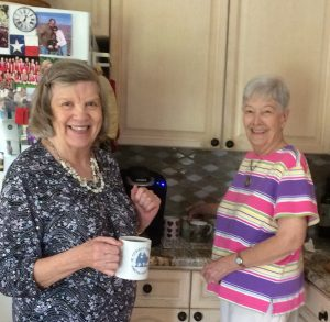 Louise Peck and Sandy Dunn getting coffee